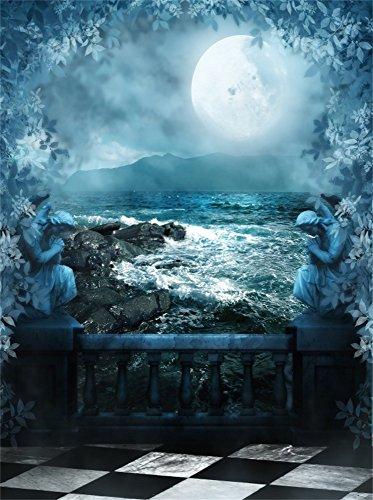 Leowefowa 5X7FT Fairytale Backdrop Enchanted Ocean Waves Shining Moon Carving Statue Leaves Vine Gloomy Marble Floor Vinyl Photography Background Kids Children Adults Photo Studio Props