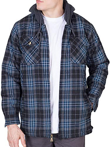 Walnut Creek Mens Fleece Lined Plaid Flannel Jacket (X-Large, Black / Teal)
