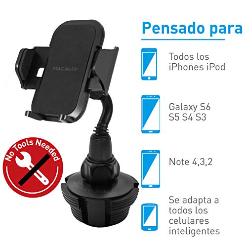 Macally Adjustable Automobile Cup Holder Phone Mount for iPhone Xs XS Max XR X 8 8+ 7 7 Plus 6s Plus 6s SE Samsung Galaxy S10 S10E S9 S9+ S8 S7 Edge S6 Note 5, Xperia, iPod, Smartphone, GPS (MCUPMP)