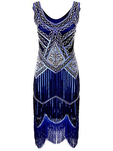 blue 1920s flapper dress - 9