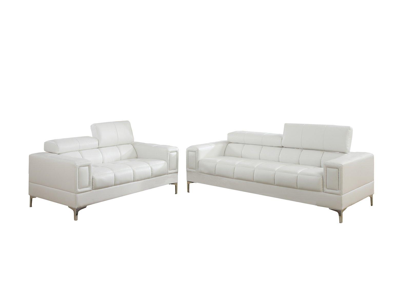 Poundex F7240 Bobkona Sierra Bonded Leather 2 Piece Sofa And Loveseat Set, White by Poundex