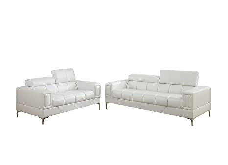 Groovy Poundex F7240 Bobkona Sierra Bonded Leather 2 Piece Sofa And Loveseat Set White Inzonedesignstudio Interior Chair Design Inzonedesignstudiocom