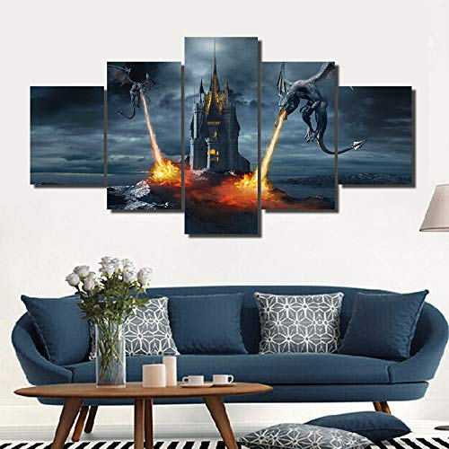Pictures Dragon Wings - Black and White Pictures Two Dragons Attacking the Castle Paintings Multi Panel Canvas Wall Art for Living Room Contemporary Artwork House Decor Giclee Framed Stretched Ready to Hang(60''Wx32''H)