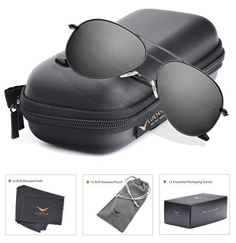 Mens Sunglasses Aviator Polarized Black: LUENX Sun glasses Dark 60mm with Case - UV400 (Sun Framed)