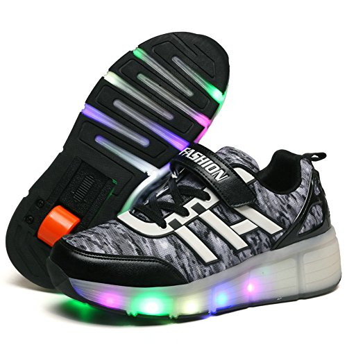 Kids Light for Women Wheel Sneakers wheels Shoes Boys Black with Roller Zcoins LED Skate Single Girls qPWtC