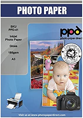 PPD041-50 PPD Inkjet Glossy Photo Paper 11x17 49lbs 180gsm 9.9mil x 50 Sheets
