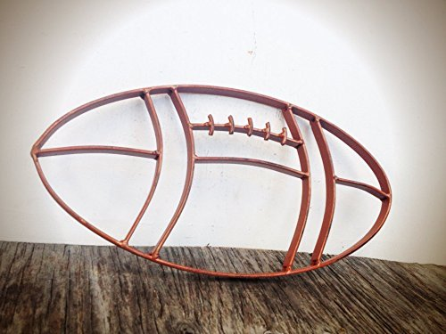 (Rustic Cognac Leather Brown Metal Football Wall Art Hanging - Boy's Sports Fan Themed Bedroom Nursery - Man Cave Decor)