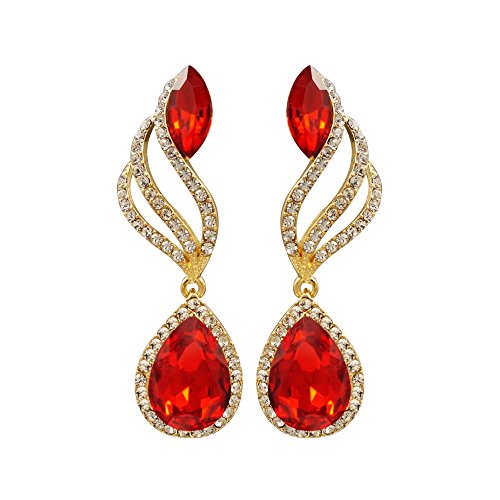 (Iris Island Austrian Crystal Rhinestone Teardrop Red Dangle Earrings for Proms Weddings Party, Gold Tone)