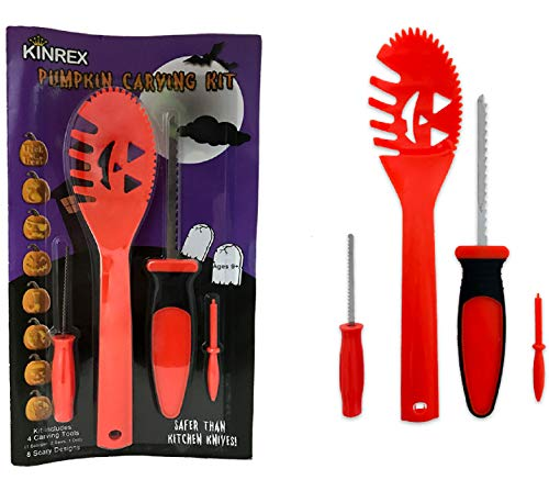 KINREX Pumpkin Carving Kit - Halloween Knife Tools Set For Kids and Adults - 4 Tool Carving Kit and 8 Halloween Scary Stencils - Great For Sculpting, Decorating and Carve Jack O Lantern Pumpkins -