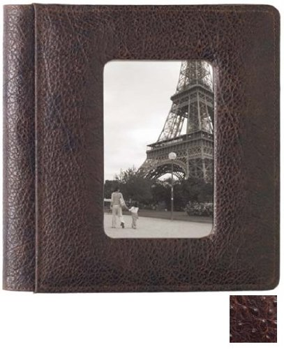 Raika #169 Handcrafted Top Grain Leather, 4-in x 6-in 2-up Post Bound Photo Album, with Front Cover Window, Ostrich print On Top Grain Cowhile With Antique Finish And Subtle Cognac Undertones, Color: Antique Brown. by Raika