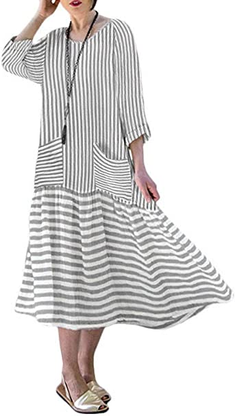 VONDA Lange Kleider Damen Kleid Langarm Kaftan Boho Maxikleider ...