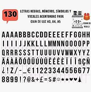 Pack de 130 letras en NEGRO para caja de luz led A4, A5 y A3. Vocales con Acentos, Ñ, Ç, ß. NO INCLUIDO letrero luminoso: Amazon.es: Bricolaje y herramientas
