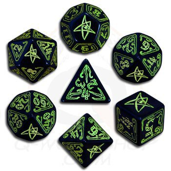 Call of Cthulhu Black and Green Dice