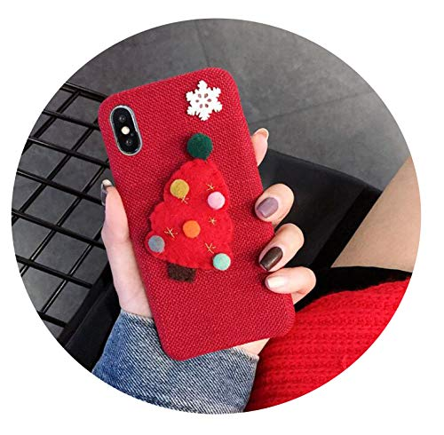 (Fashion Handmade Wool Felt Snowflake Christmas Tree Linen Flannel Mobile Phone Case Compatible for iPhone,Red,for iphonex Xs)