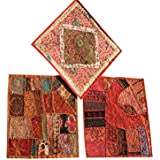 Boho Decorative Indian Throw Pillow Cases Cotton Sequin Embroidered Patchwork Cushion Cover Set Of 3