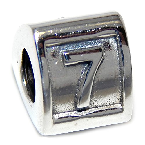 925 Solid Sterling Silver Three-sided Number '7' Charm Bead (Silver Sterling Key 7')
