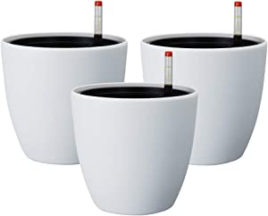 KITADIN Self Watering Planter 3 Pack Decorative Planter Modern Garden Pot for Indoor Outdoor Plants Flowers Herbs Succulents (L, White)