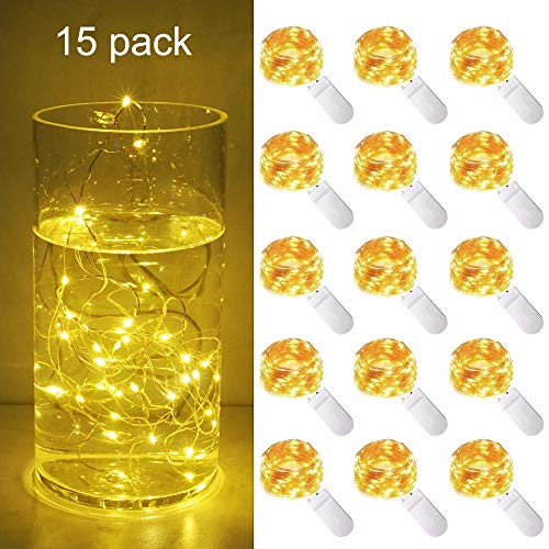 (Cynzia 15 Pack 10ft/3m 30 LED Micro Starry String Lights Battery Operated(Included),Fairy Waterproof Silver Wire Lights,for DIY Party Garden Wedding Table Indoor&Outdoor Decor (Warm White))
