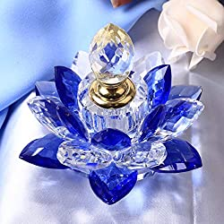 Hand Cut-Mouth Blown Crystal Blue Lotus Flower Figurines Perfume Empty Bottle