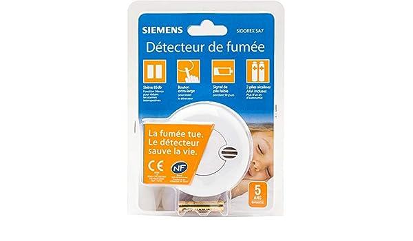 Siemens - Detector de humo Sidorex SA7 con certificación NF (europea) con un año de autonomía: Amazon.es: Bricolaje y herramientas