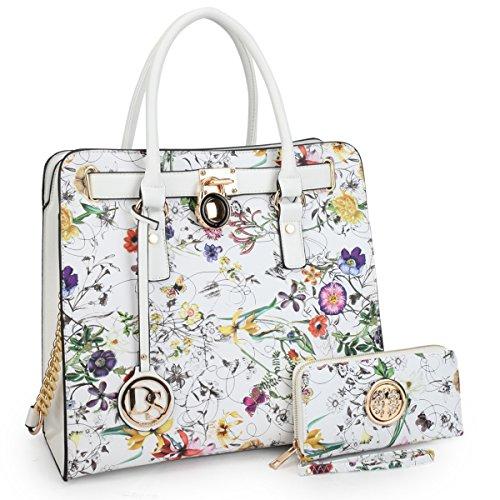 DASEIN Fashion Top Belted Tote Satchel Designer Padlock Handbag Shoulder Bag for Women (2553W-white floral) ()