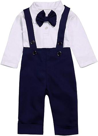 UK Baby Boy Formal Suit Bowtie Gentleman Romper+Bib Pants Overall Outfits Set