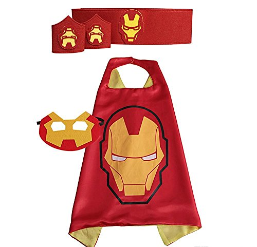 [Super Hero Cape Bundle - 4 Items - 1 Cape - 1 Mask - 1 Waistband - 2 Wristbands – Great for Kids Birthday Party , Halloween , pretend play parties , Christmas] (Iron Man Shirt And Mask Costumes)