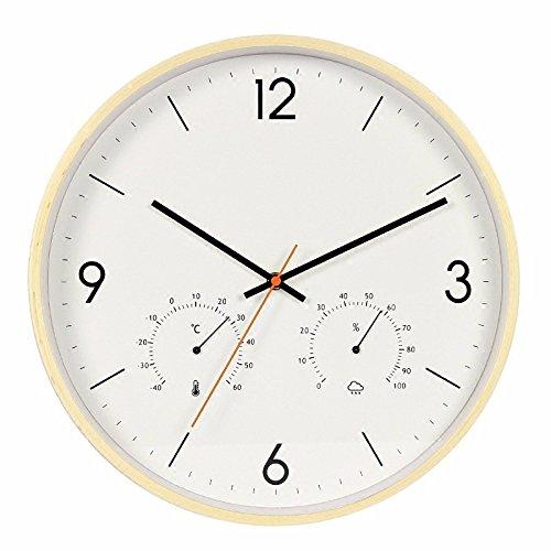 オフィスのための寝室用リビングルーム用静かな壁時計、温度計と湿度計、茶色 B07DWWHBPD 褐色 褐色