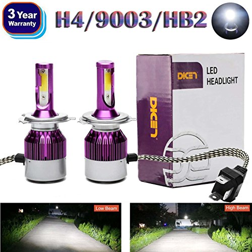 2018 Newest Design LED H4/9003/HB2 LED Headlight High Low Dual Beam Bulbs Kit 6000K 12000LM Super Bright Car Light Replacement - 3 Year Warranty (Hid High With 9003 Beam Hid Kit)