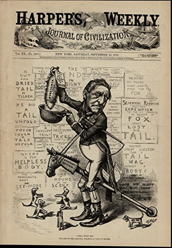 Usufruct Reform Tilden Fox Hunt Tweed Bribery 1876 great old print for display