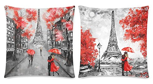 SPXUBZ Oil Painting Paris European City Street Landscape Eiffel Tower Black White and Red Art Pillow Cover Home Decor Nice Gift Square Indoor Pillowcase Set of 2 (Two Sides)