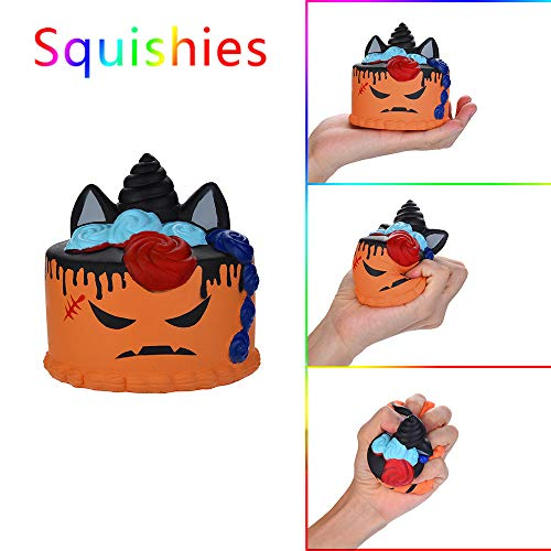Decompression Slow Rebound Toy Kids Halloween Demon Cake Scented Squishies Slow Rising Stress Relief Toy (Orange)