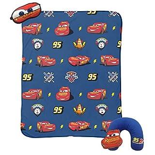 Jay Franco Disney/Pixar Cars 3 Piece Plush Kids Travel Set with Neck Pillow, Blanket & Eye Mask (Official Disney/Pixar Product)