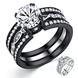 Mabella Black Wedding Band Sets Engagement Ring Stainless Steel Round Cut Cubic Zirconia