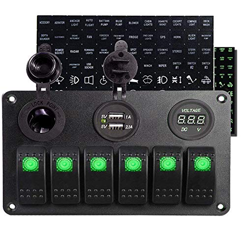 Frentaly LED Green Light Waterproof Marine/Boat Car Switch Panel 6 Gang Indicator 5 pin On Off Rocker Switch Custom Decal Sticker Assembly (Green) (Switch Panel 6 Gang)