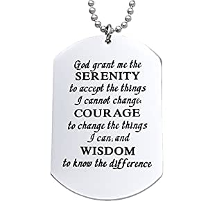 Melix Home God grant me the serenity ... Necklace Dog Tag (White)