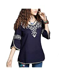 Kafeimali Women's Embroidery Mexican Bell Sleeve Cotton Blouses Tops Shirt Tunic