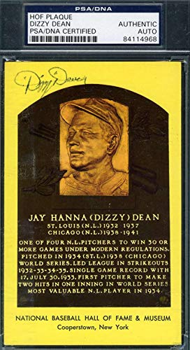DIZZY DEAN PSA DNA Coa Autograph Gold HOF Plaque Hand Signed Authentic