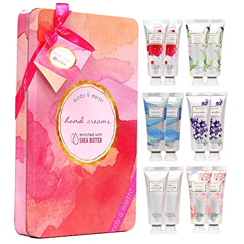 Hand Cream Gift Set, BODY & EARTH Hand Lotion for Dry Hands, Moisturizing with Shea Butter, 12pc Travel-size, Best Gifts Idea for Women ()