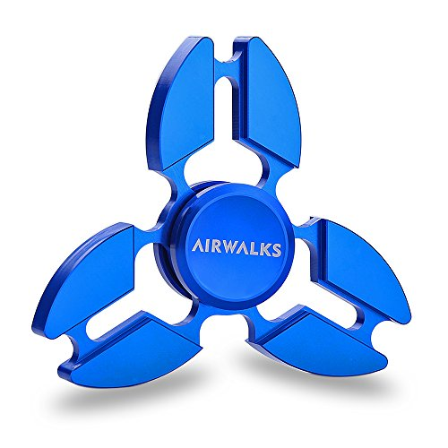 Hand Spinner Fidget Toy, AIRWALKS New Design Aluminium Alloy High Speed Slient Spin, Best Stress Reducer Relieves ADHD Anxiety and Boredom (Blue) AIRWALKS