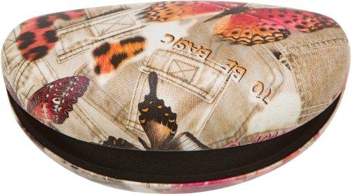 Sakkas 09-SC Denim Butterfly Oversized Sunglasses Hard Case - Brown