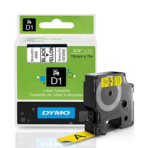 DYMO Standard D1 Labeling Tape for LabelManager Label Makers, Black print on Yellow tape, 3/4'' W x 23' L, 1 cartridge - Print Black D1