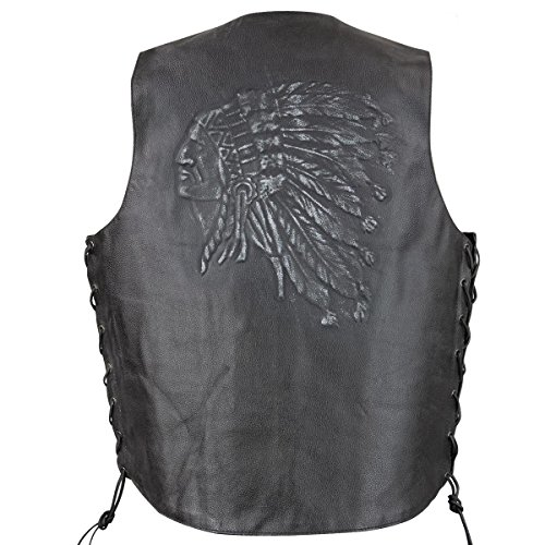 Xelement VE9730 Mens Black Embossed Indian Head Leather Motorcycle Vest - - Vest Embossed Leather