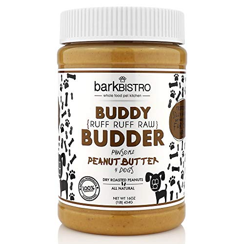 Bark Bistro Company, Ruff Ruff Raw Buddy Budder, 100% Natural Dog Peanut Butter, Healthy Peanut Butter Dog Treats, Stuff in Toy, Dog Pill Pocket, Made in USA, (16oz Jars)