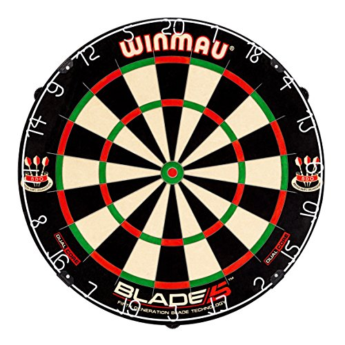 - Winmau Blade 5 Dual Core Bristle Dartboard with Increased Scoring Area and Improved Dart Deflection for Reduced Bounce-Outs