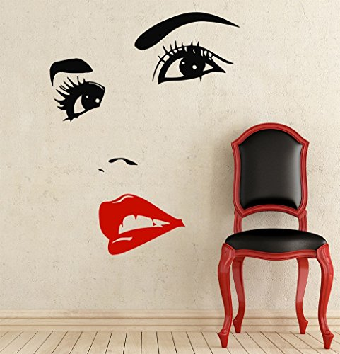 Letters Wall Decor Stickers Wall Decals Makeup Eyes Girl Lips Woman Fashion Cosmetic Hairdressing Make up Hair Nail Beauty Salon Wall Vinyl Decal Stickers Bedroom Murals