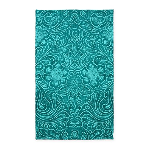 Teal Green Faux Suede Leather Floral Desi