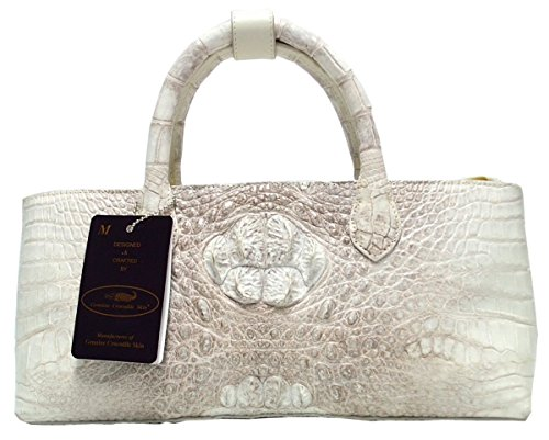(Authentic M Crocodile Skin Womens Hornback Leather Long Bag Tote White Handbag)