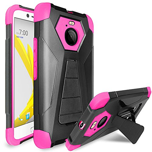 (HTC Bolt case, HTC 10 EVO Case, Luckiefind Designer Premium Hybrid Dual Layer Case with Stand, Stylus Pen Accessory (Stand Pink))