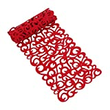 Rectangle Felt Table Runner 7 Colors Table Mats For Home Kitchen Decoration-40 X 11inch, Red